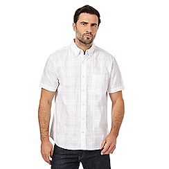 Maine New England - Big and tall white textured regular fit shirt