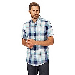 Maine New England - Blue checked linen blend short sleeve shirt