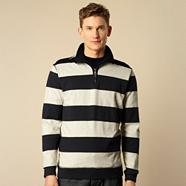 Navy block striped sweatshirt