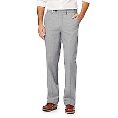Maine New England - Big and tall light blue puppytooth linen blend trousers