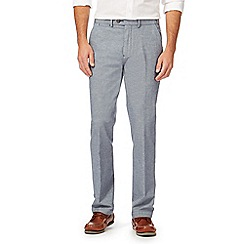 Maine New England - Blue striped tailored fit trousers with linen