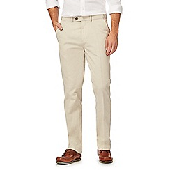 Maine New England - Natural striped tailored fit trousers with linen
