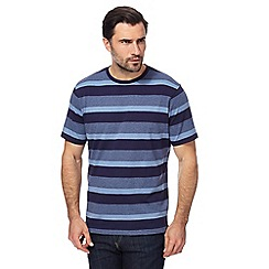 Maine New England - Big and tall navy block striped t-shirt