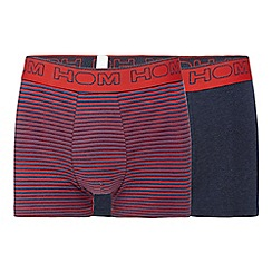 HOM - Pack of two navy and red striped boxer briefs