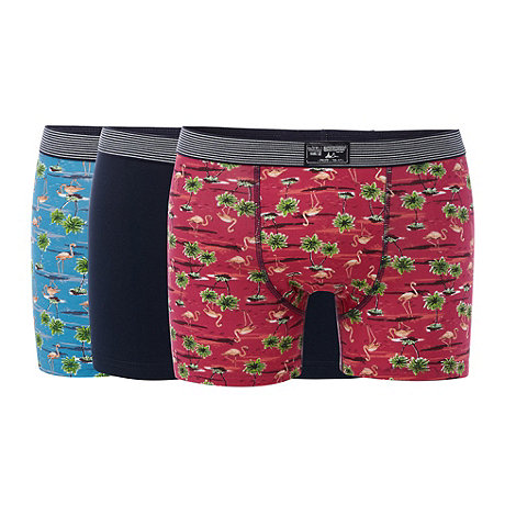 Mantaray - Pack of three blue flamingo printed hipster trunks