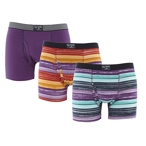Mantaray - Pack of three orange purple and turquoise watercolour striped trunks