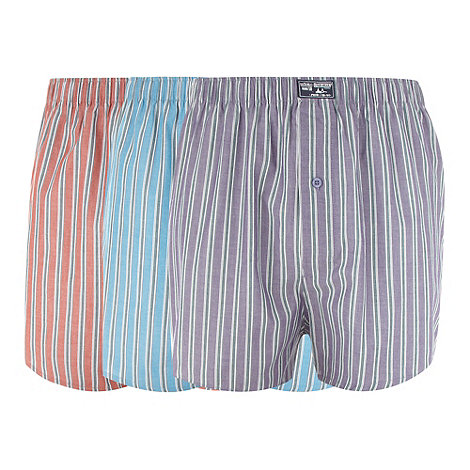Mantaray - Pack of three purple orange and blue striped boxers