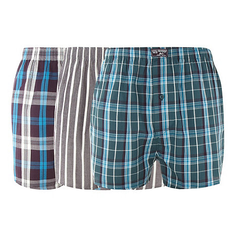 Mantaray - Pack of three dark blue checked boxers