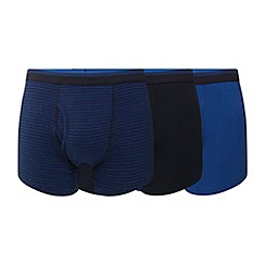The Collection - Pack of three navy and blue plain and striped keyhole trunks
