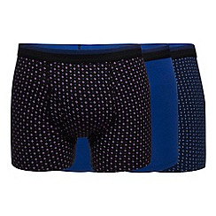 The Collection - Big and tall pack of three blue printed hipster trunks
