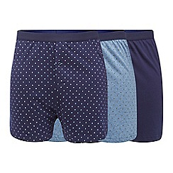 The Collection - Pack of three navy plain and patterned button boxers