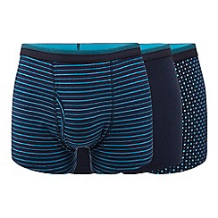 The Collection - Pack of three turquoise plain and patterned trunks