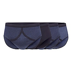 The Collection - Big and tall pack of four navy plain and striped briefs