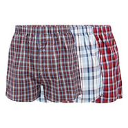 Pack of three red and blue checked boxers