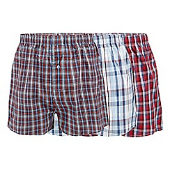 Thomas Nash - Pack of three red and blue checked boxers