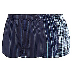 Thomas Nash - Pack of three navy and aqua striped and checked boxers