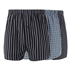 Thomas Nash - Pack of three navy striped and checked boxers