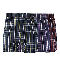 Thomas Nash - Pack of three navy bright grid checked boxers