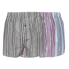 Thomas Nash - Pack of three blue purple and grey striped boxers