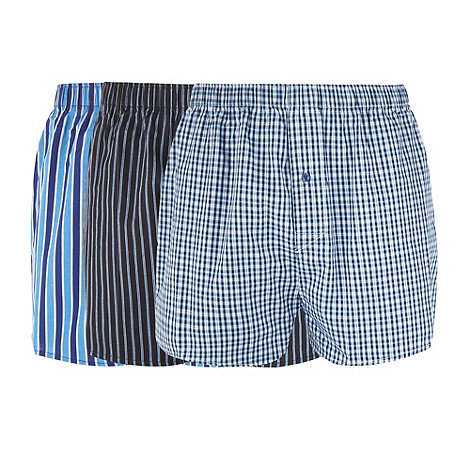 Thomas Nash - Pack of three navy checked and striped boxers