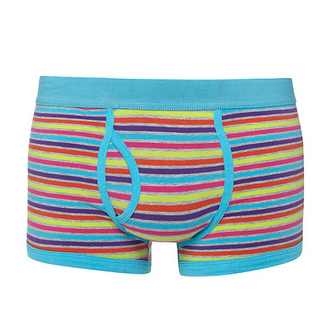 Red Herring - Turquoise bright striped keyhole trunks
