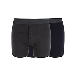 J by Jasper Conran - Big and tall designer pack of two navy and dark grey soft stretch boxers