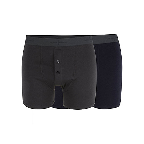 J by Jasper Conran - Designer pack of two navy and dark grey soft stretch boxers