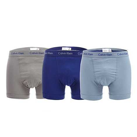 Calvin Klein Underwear - Pack of three navy blue and grey plain trunks