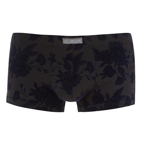 HOM - Black flocked floral hipster trunks