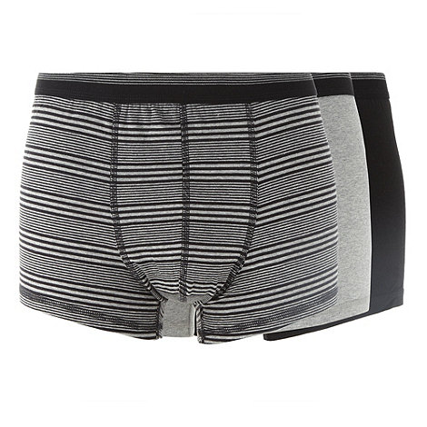 Thomas Nash - Pack of three grey plain and striped trunks
