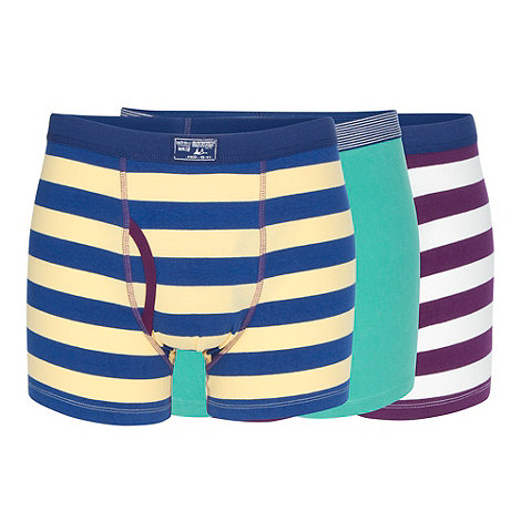 Mantaray - Pack of three purple rugby stripe keyhole trunk boxers