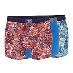 Mantaray - Pack of three blue floral and plain hipster trunks