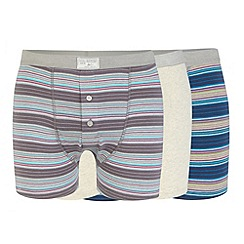 Mantaray - Pack of three grey plain and ombre striped boxers