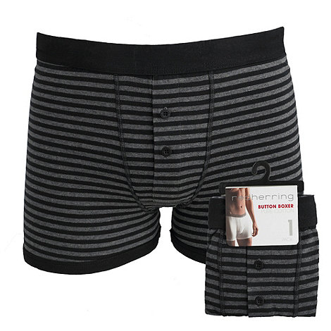Red Herring - Grey striped button boxers