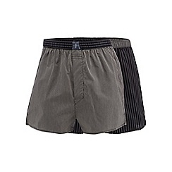 J by Jasper Conran - Designer pack of two black satin striped boxers