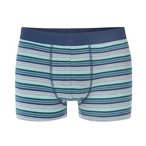 RJR.John Rocha - Designer light turquoise block striped hipster trunks