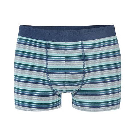 RJR.John Rocha - Designer light turquoise block striped hipster trunks