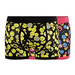 Red Herring - Pack of two black 'Smiley World' print keyhole trunks