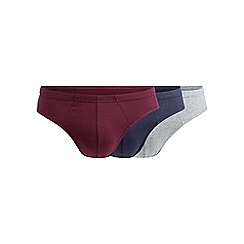 Debenhams Basics - Pack of three grey, wine and navy slips