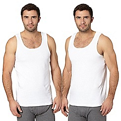 Debenhams - Big and tall pack of two white cotton vests