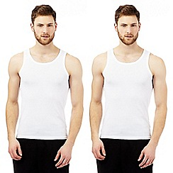 Debenhams - Big and tall pack of two cotton mesh vests
