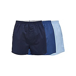 Debenhams Basics - Big and tall pack of three blue woven boxers