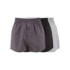 Debenhams - Pack of three black woven plain boxers