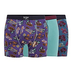 Mantaray - Pack of three turquoise plain and van printed trunks