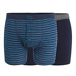 Mantaray - Pack of three navy distressed stripe button boxers