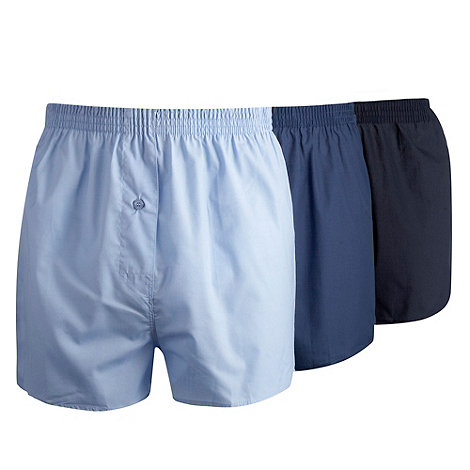 Thomas Nash - Pack of three blue shades plain boxer shorts