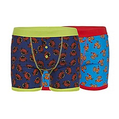 Red Herring - Pack of two blue cock and bull button boxers