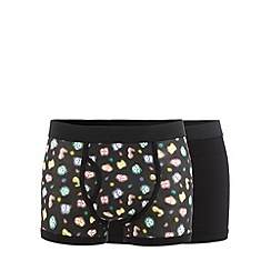 Red Herring - Pack of two black plain and glow eyes printed trunks