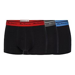 Ben Sherman - Pack of three blue logo embroidered trunks