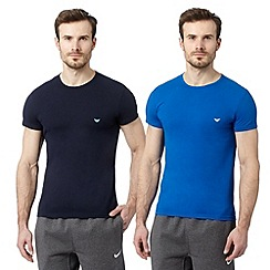 Emporio Armani - Pack of two blue crew neck t-shirts